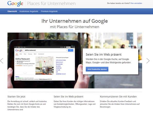 Google Places Unternehmenseintrag